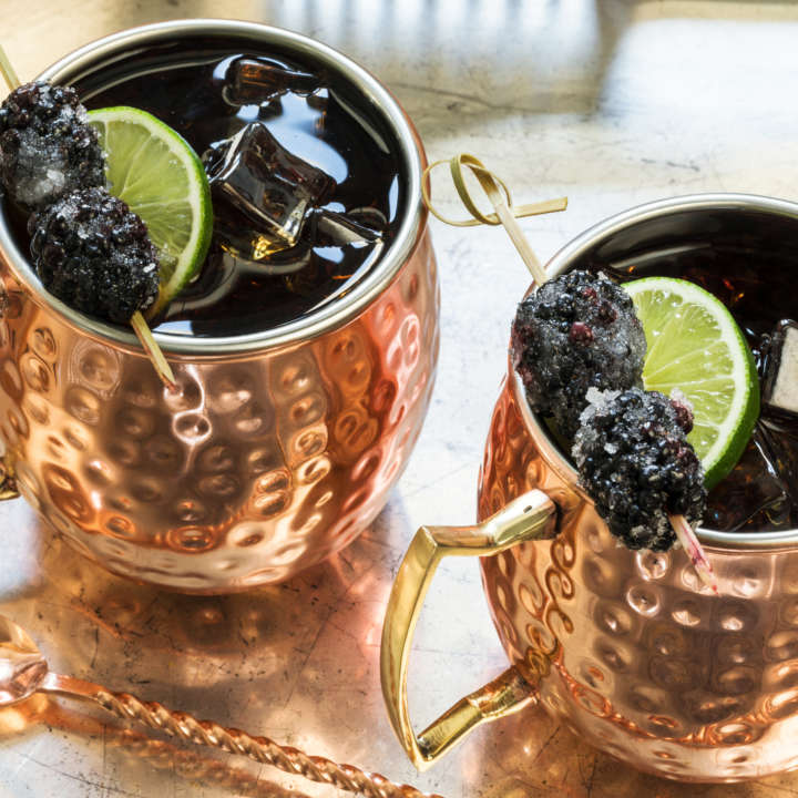 Iced Sweet Tea Mule with Sugared Blackberries